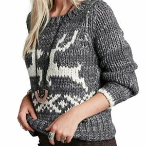 NWT FREE PEOPLE REINDER DANCER CHRISTMAS SWEATER M